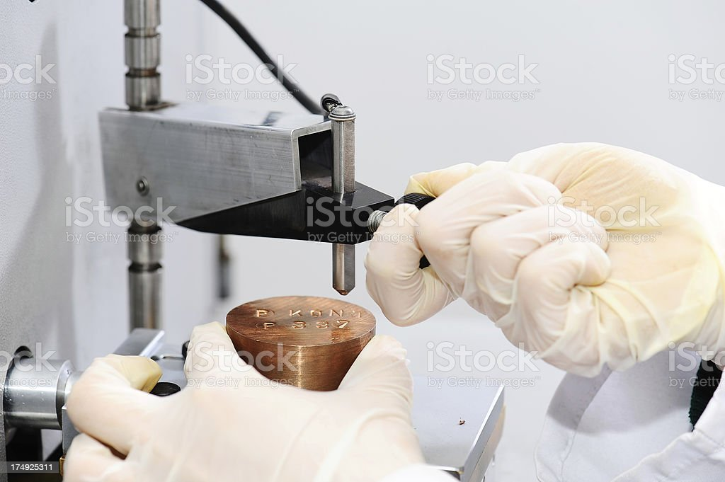 Hardness testing in laboratory conditions stock photo