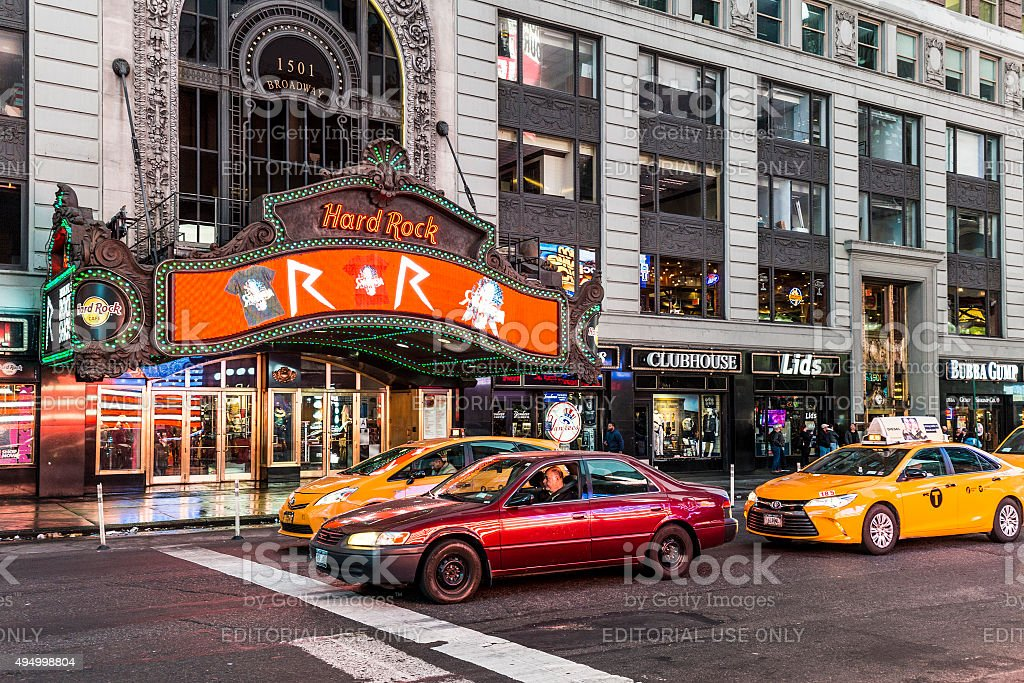 hardrock cafe at times square stock photo