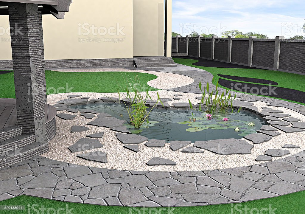 Hardscapes and water garden, 3d rendering stock photo