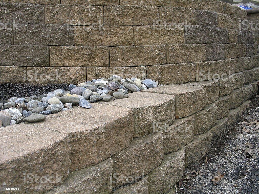 Hardscaping Multilevel Retaining Wall royalty-free stock photo