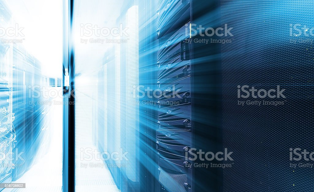 hardware in data center with blur and motion stock photo