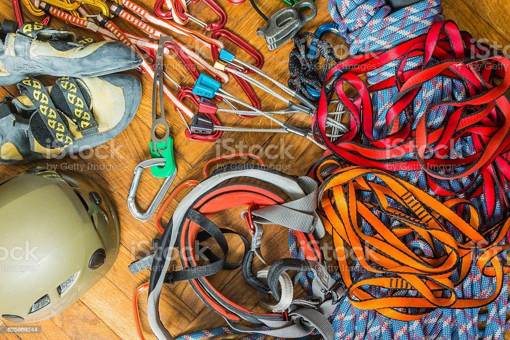 Hardware rock climbing. stock photo