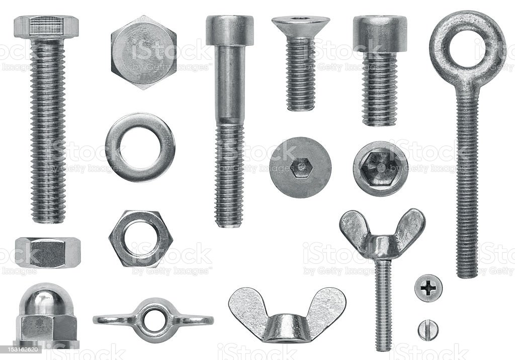 Hardware screw collection stock photo