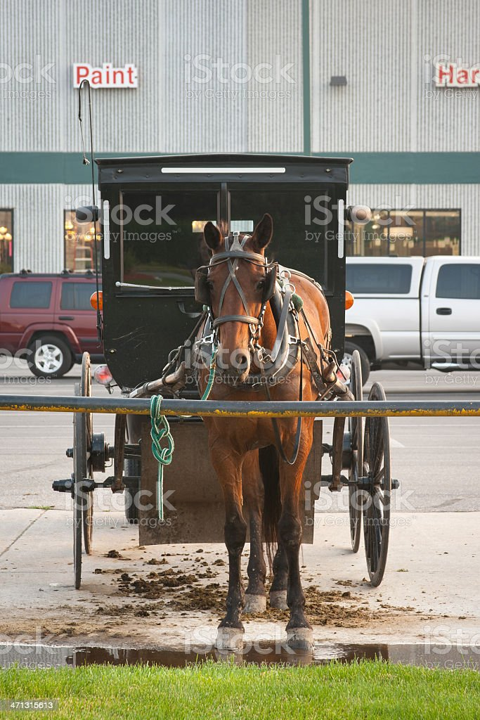 Hardware Store and Amish Buggy stock photo