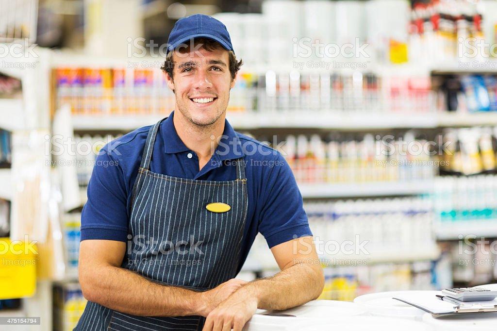 hardware store worker stock photo
