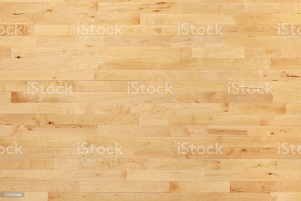 Hardwood basketball court floor viewed from above stock photo