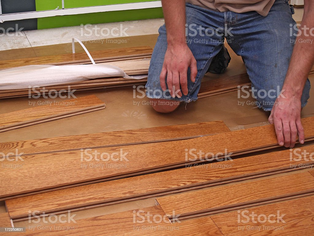 Hardwood floor installation royalty-free stock photo