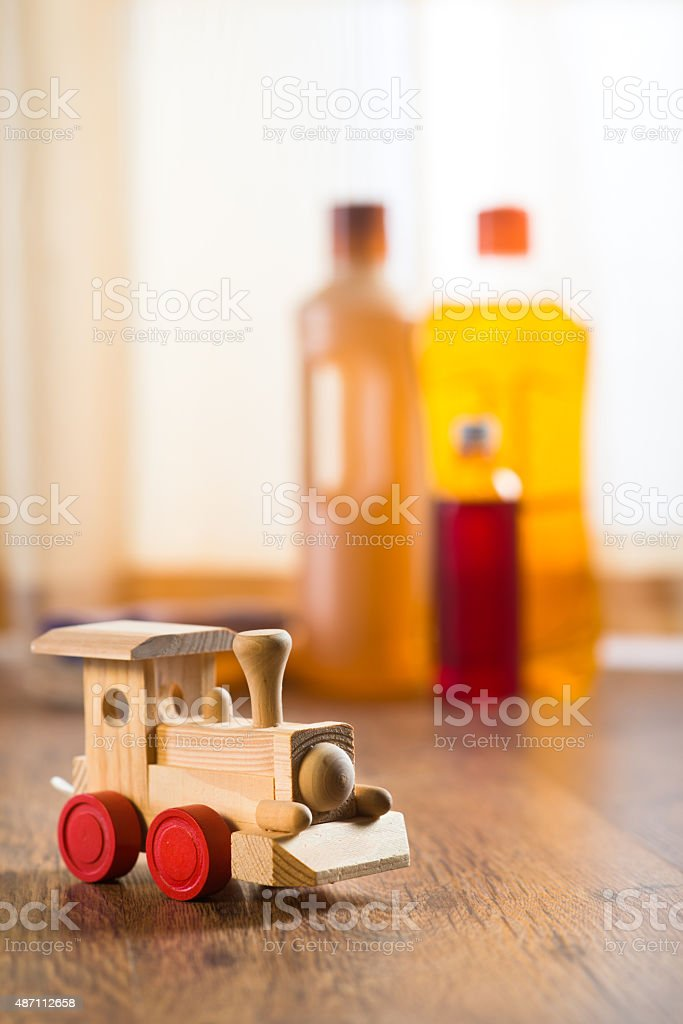 Hardwood floor safe cleaning stock photo