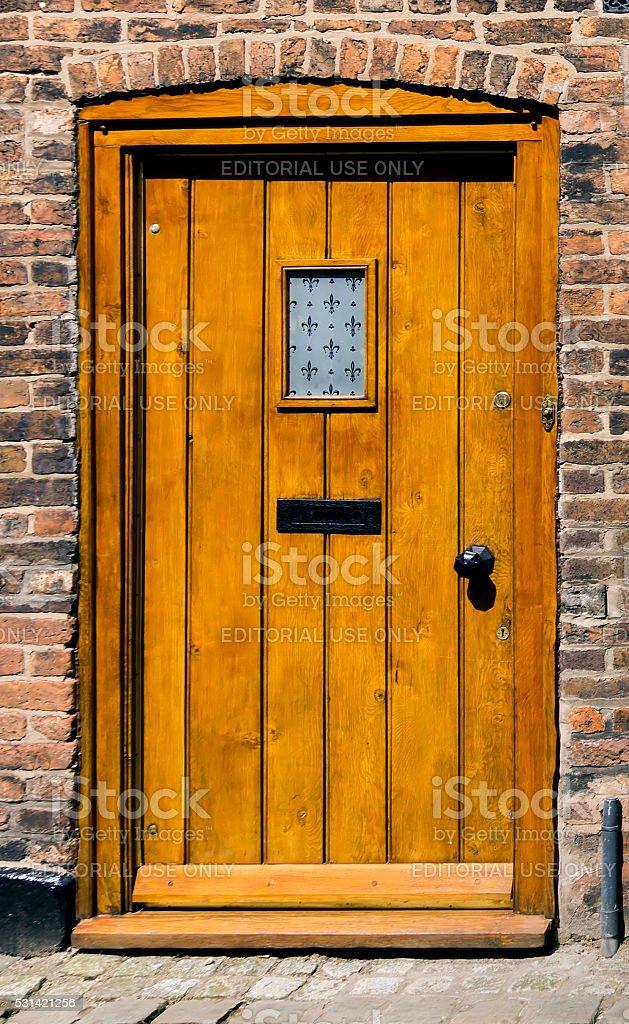 Hardwood Front Door stock photo