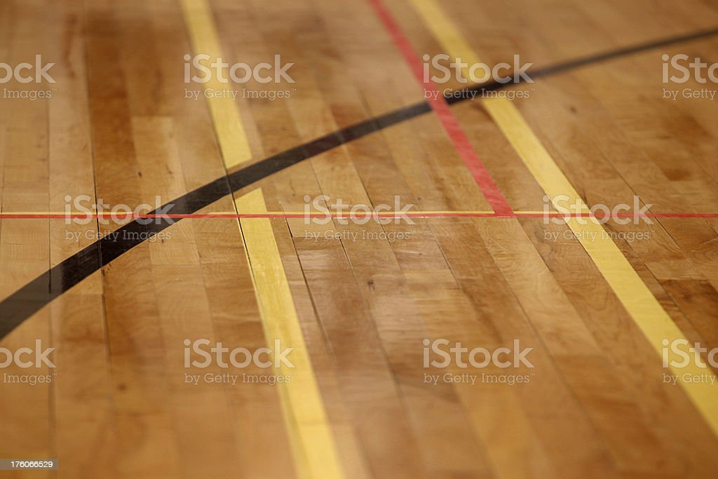 Hardwood Gym Floor royalty-free stock photo