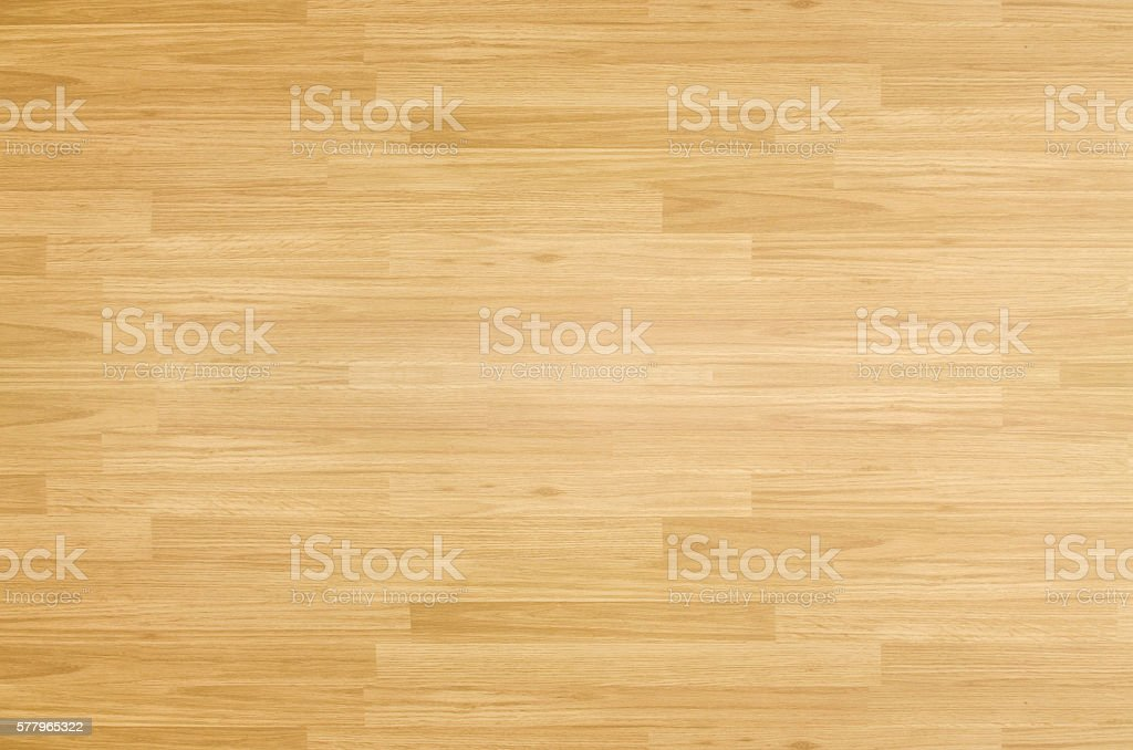 Hardwood maple basketball court floor viewed from above stock photo
