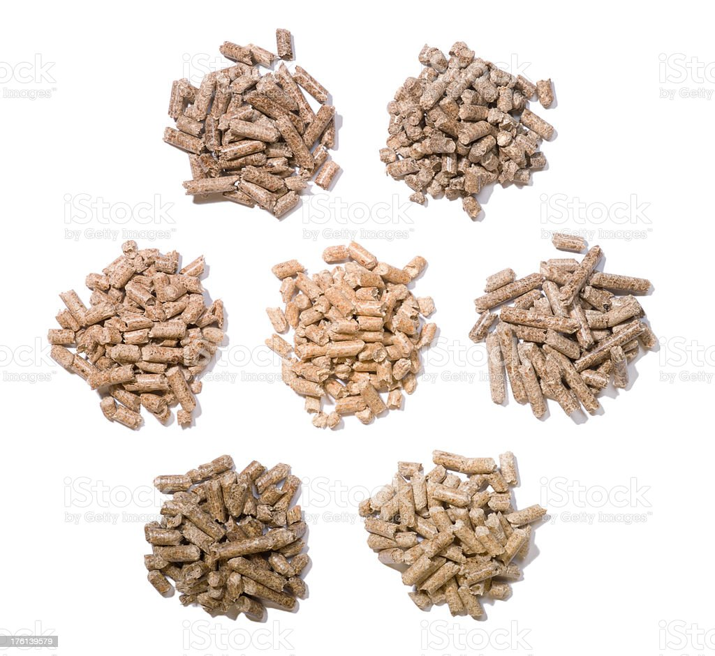 Hardwood pellets are different stock photo