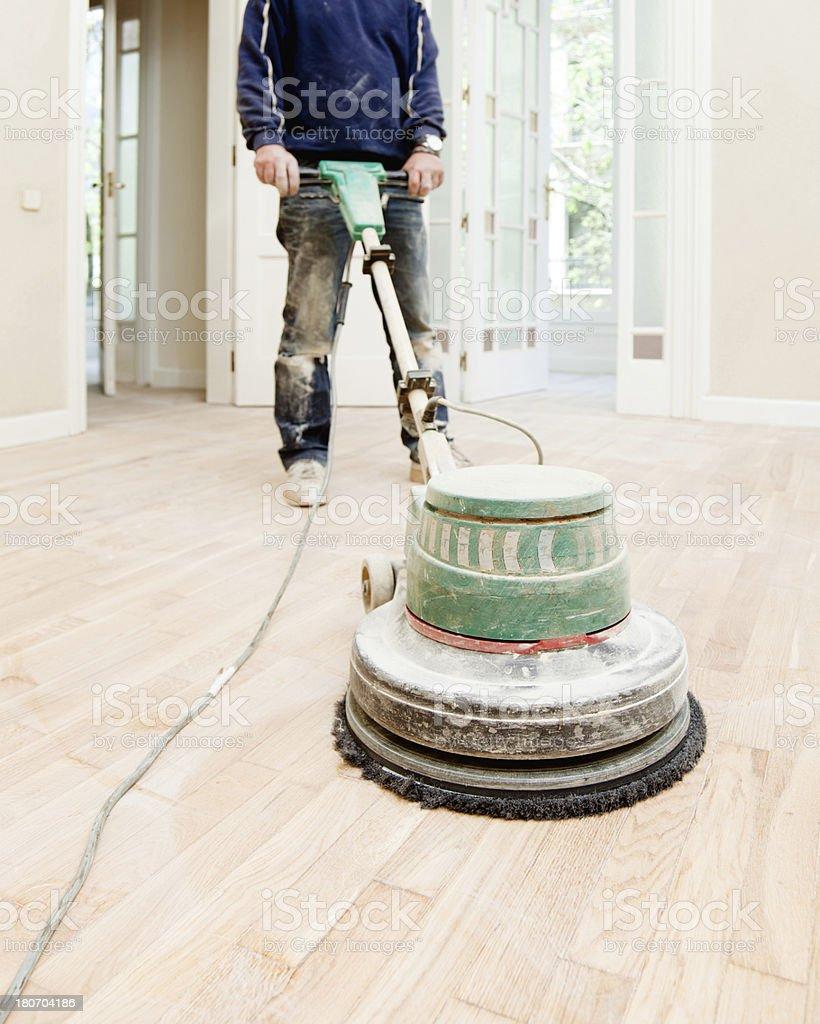 Hardwood professional sanding royalty-free stock photo