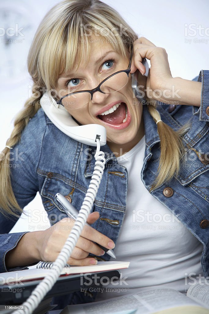 Hard-working young blonde stock photo