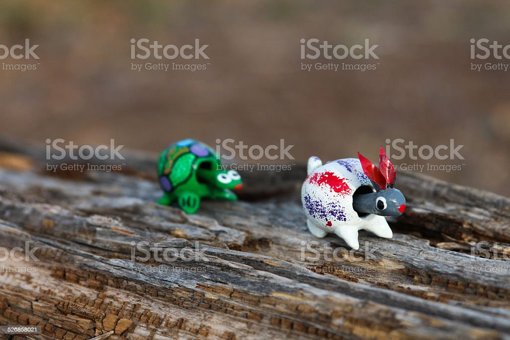 Hare in front of the tortoise - Bobbleheads stock photo