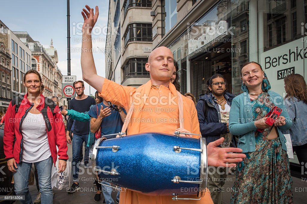 Hare-Krishna parade in London stock photo