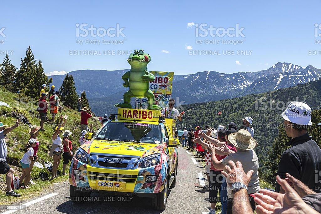 Haribo Car in Pyrenees Mountains royalty-free stock photo