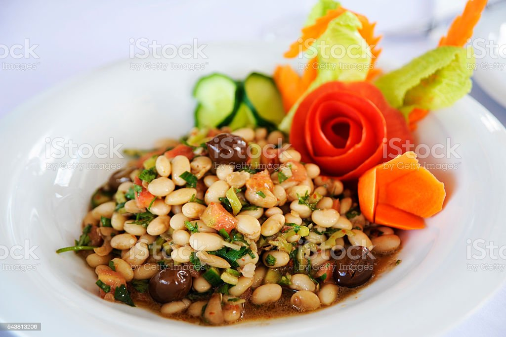 haricot bean salad with white bowl stock photo