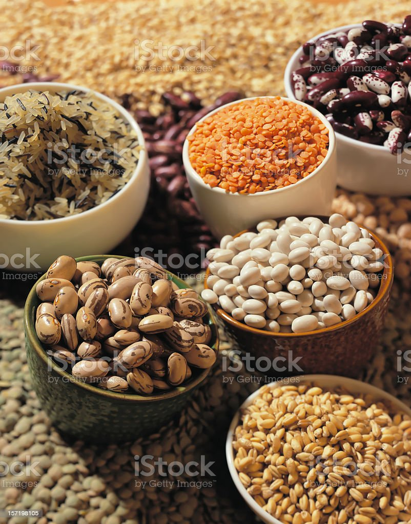 Haricot beans, lentil and rice stock photo