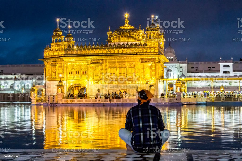 Harimandir Sahib at the Golden temple complex, Amritsar - India stock photo