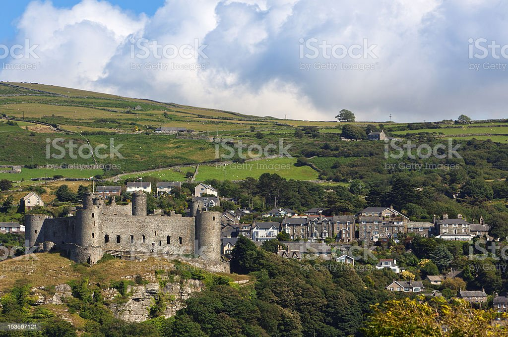 Harlech Castle and village stock photo