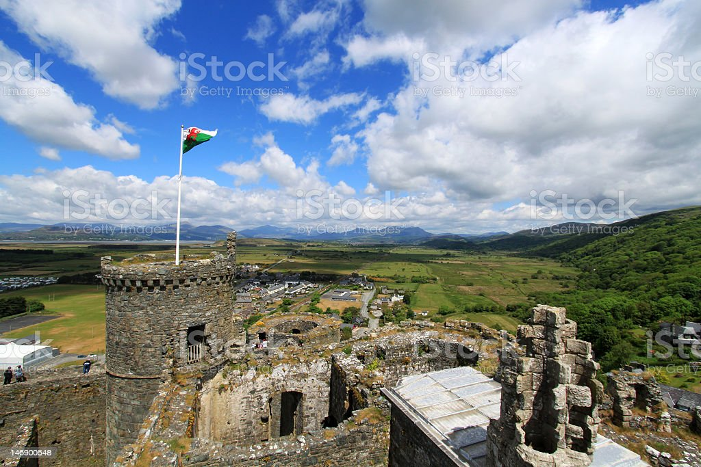 Harlech Castle with Mount Snowdon in the background stock photo