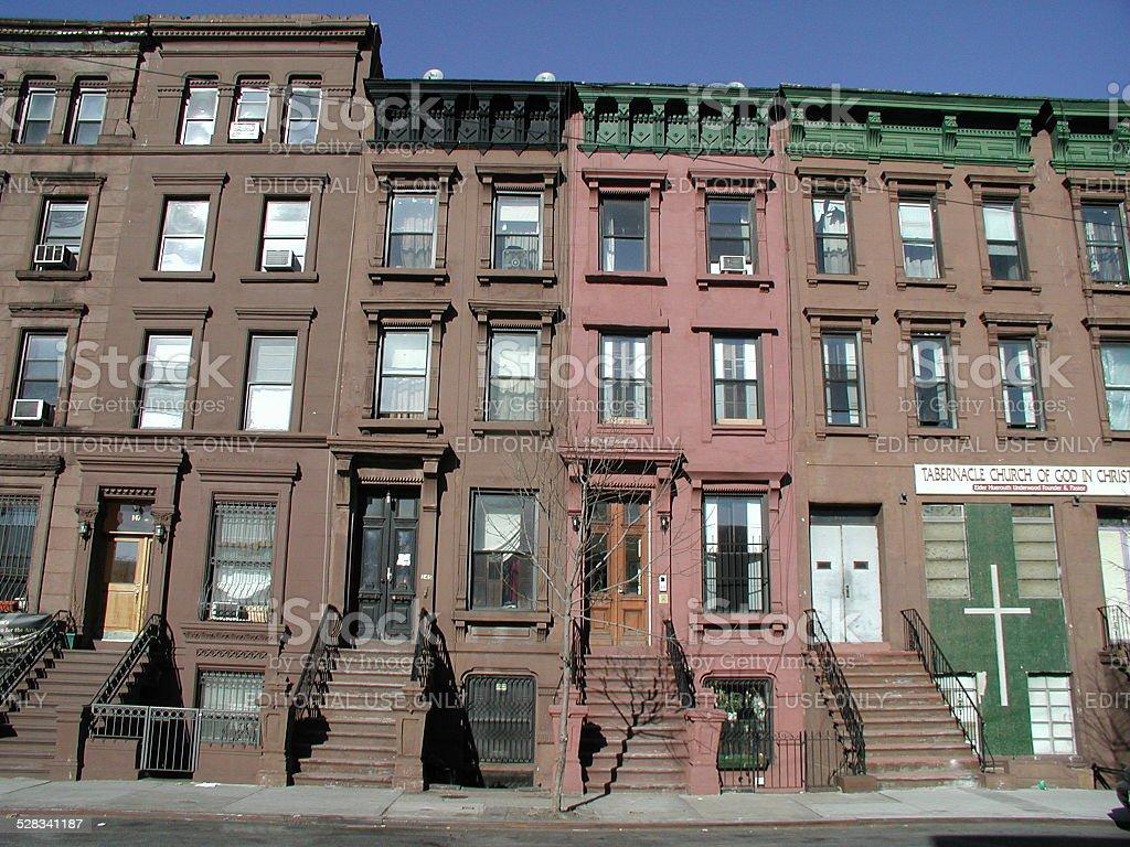 Harlem Brownstones 126th Street NYC stock photo
