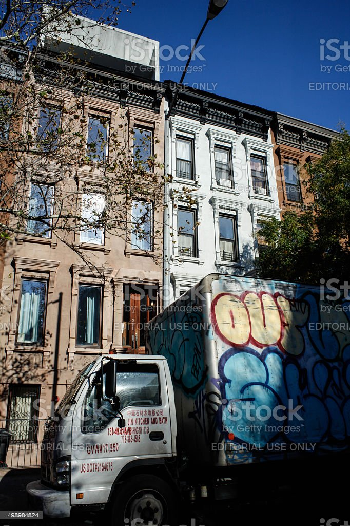 Harlem brownstones in NYC. stock photo