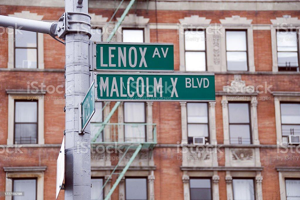 Harlem Malcolm X Blvd street sign stock photo