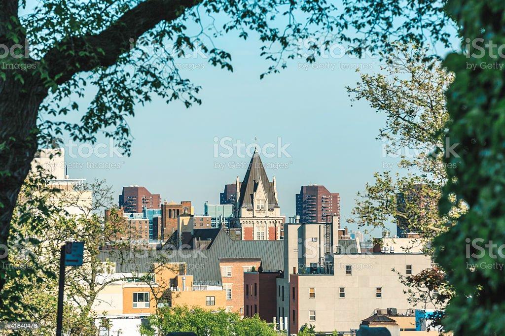Harlem Skyline at New York, Seen from Morningside Park stock photo