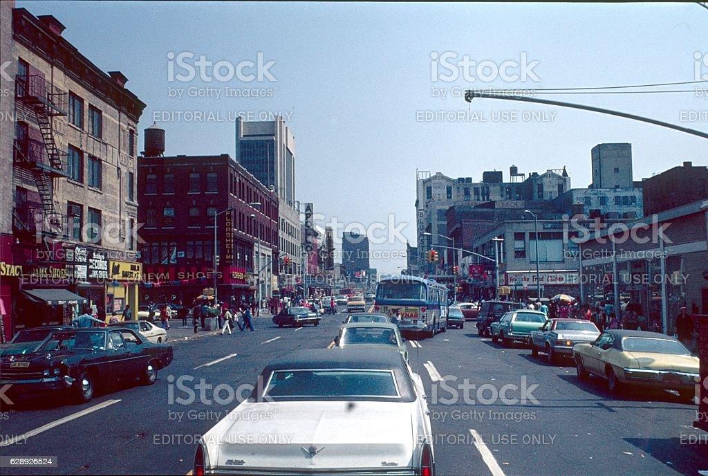 N.Y.C., Harlem street scene, 1976 stock photo