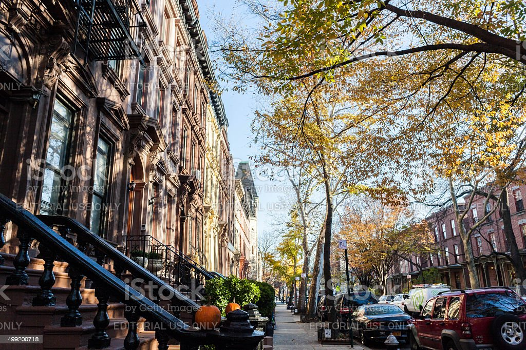 Harlem street view, West 130th, Lenox and 5th ave. G stock photo