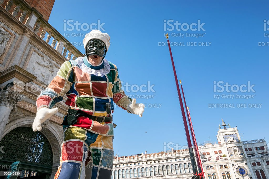 Harlequin at Venice carnival stock photo