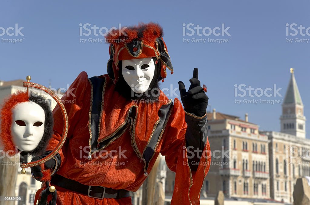 Harlequin mask and Venice skyline with Campanile (XL) royalty-free stock photo