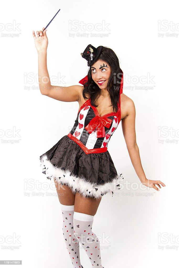 Harlequin with magic wand royalty-free stock photo