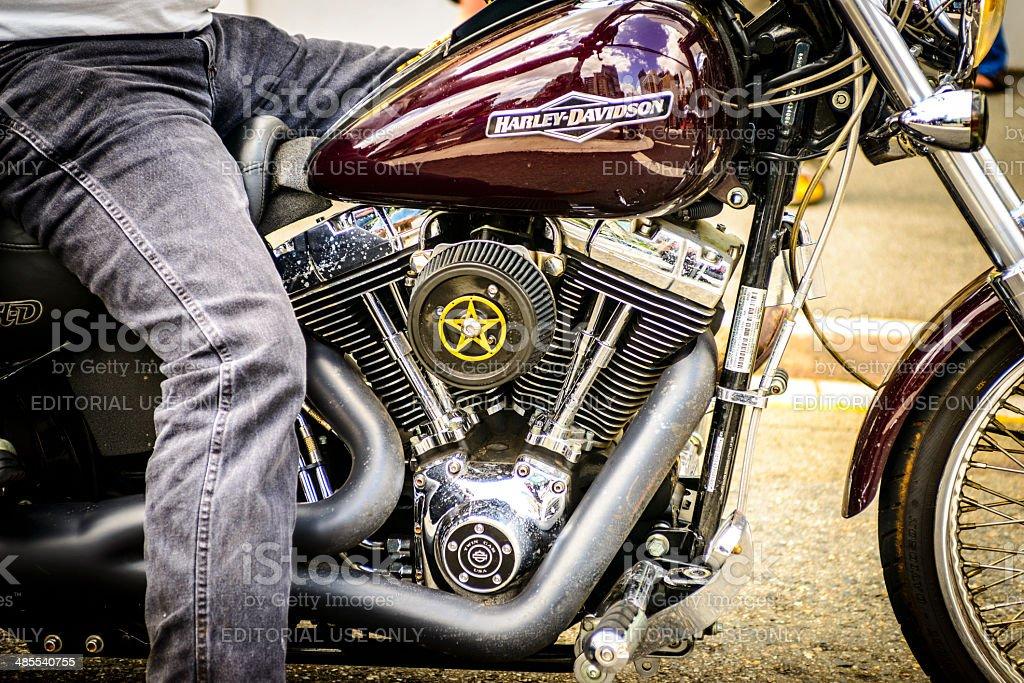 Harley Davidson at bikie rally stock photo