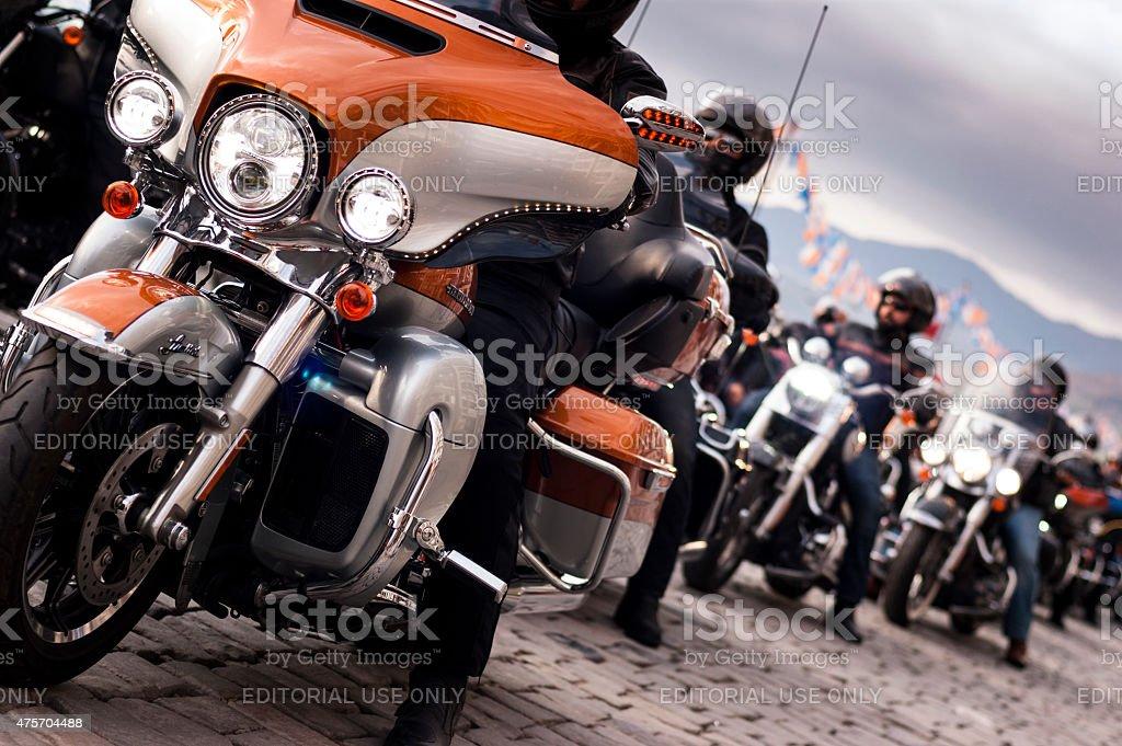 Harley davidson convoy. stock photo