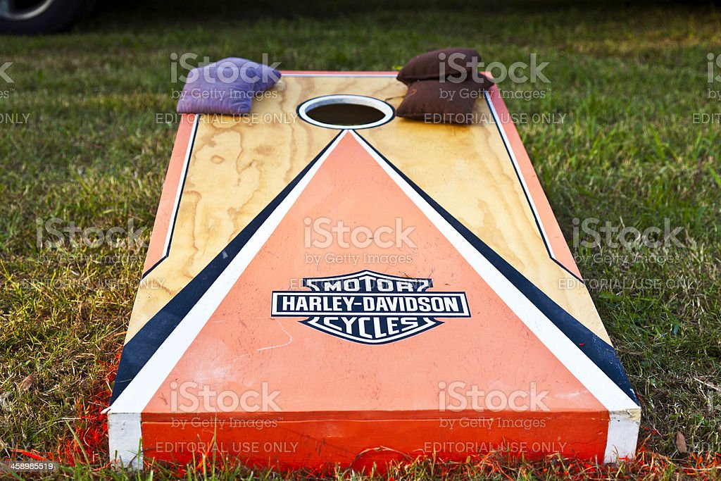 Harley Davidson Cornhole Board - Horizontal stock photo