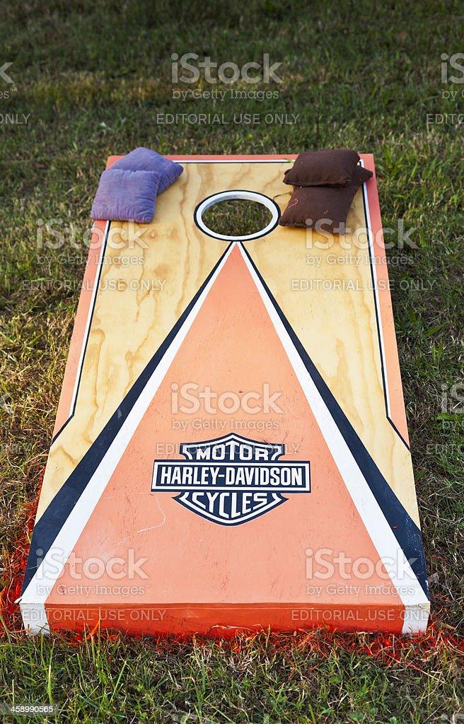 Harley Davidson Cornhole Board - Vertical stock photo