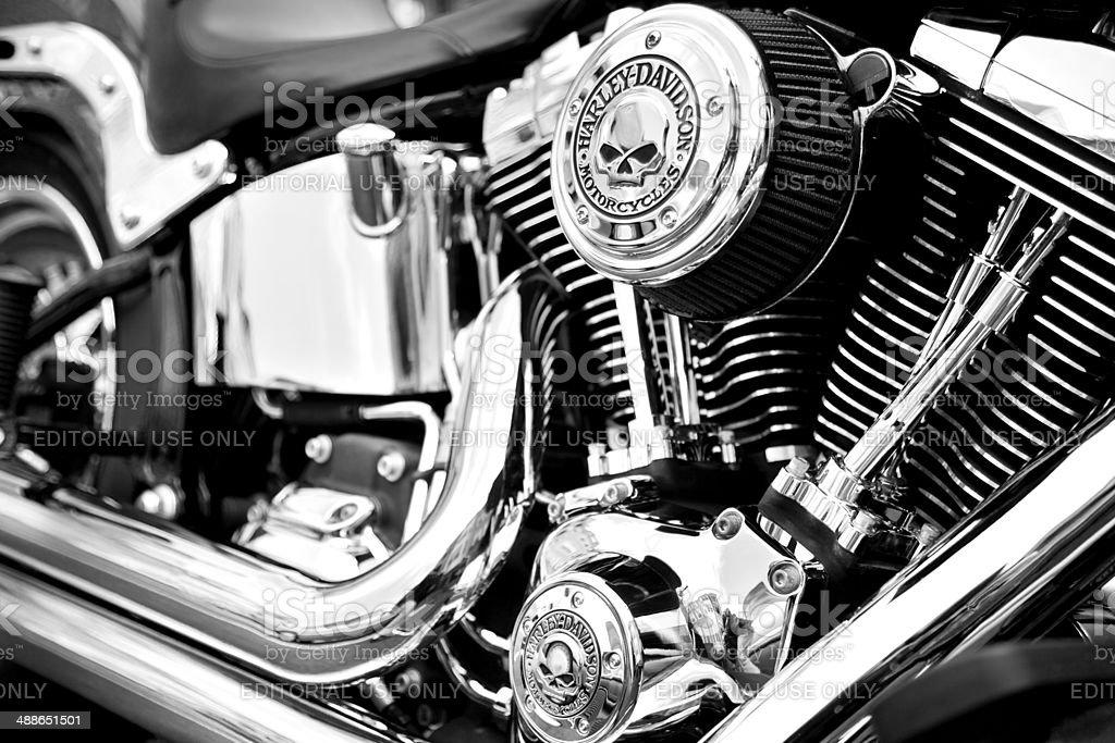 Harley Davidson Engine with custom Willy G Davidson skull logos stock photo