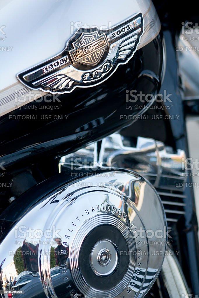 Harley Davidson logo on fuel tank. stock photo