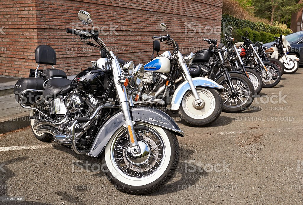 Harley Davidson motorcycles lined up stock photo