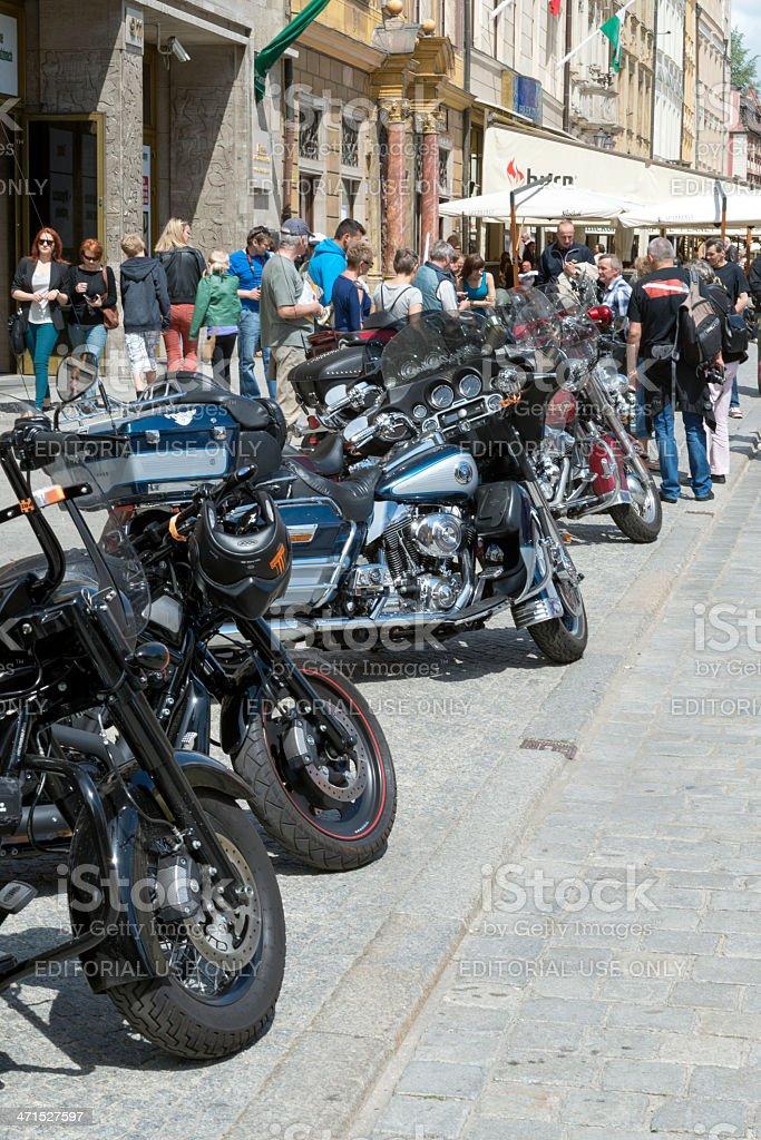 Harley Davidson motorcycles parked royalty-free stock photo