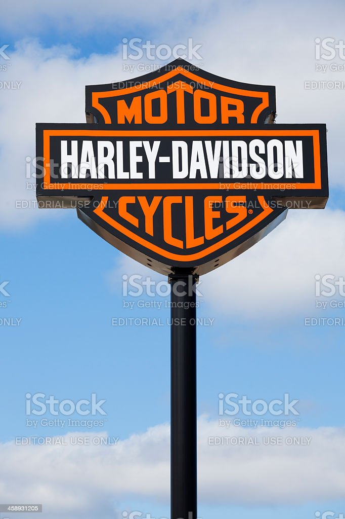 Harley Davidson Sign at Dealership stock photo