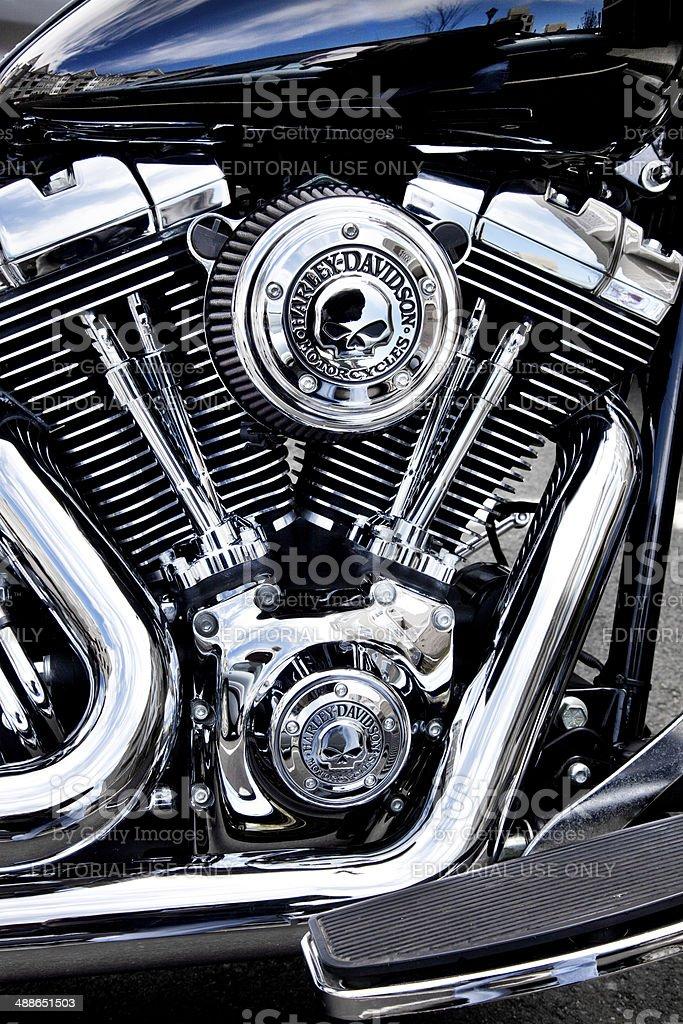 Harley Engine with skulls stock photo