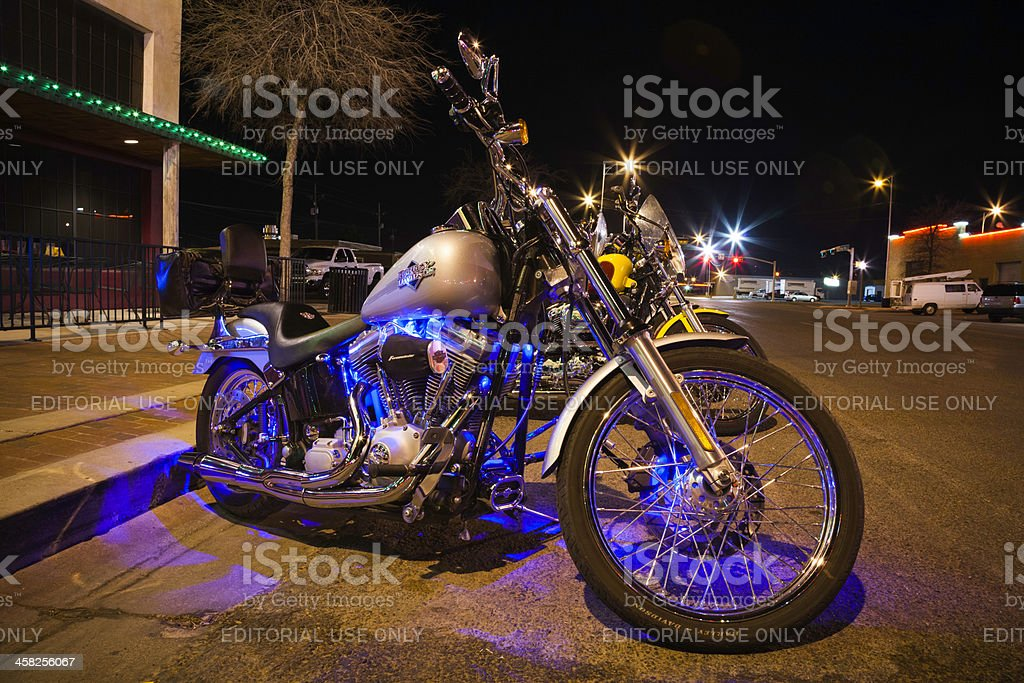 Harley motorcycles parked on Buddy Holly Avenue in Lubbock TX royalty-free stock photo