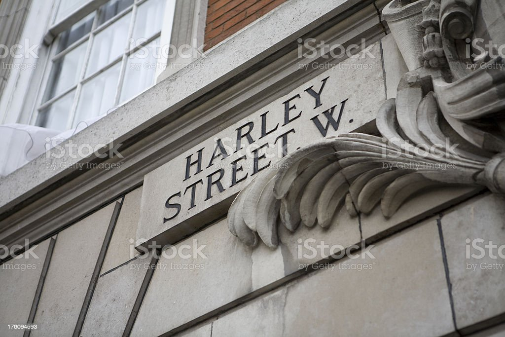 Harley Street Road Sign, Westminster, London, England stock photo