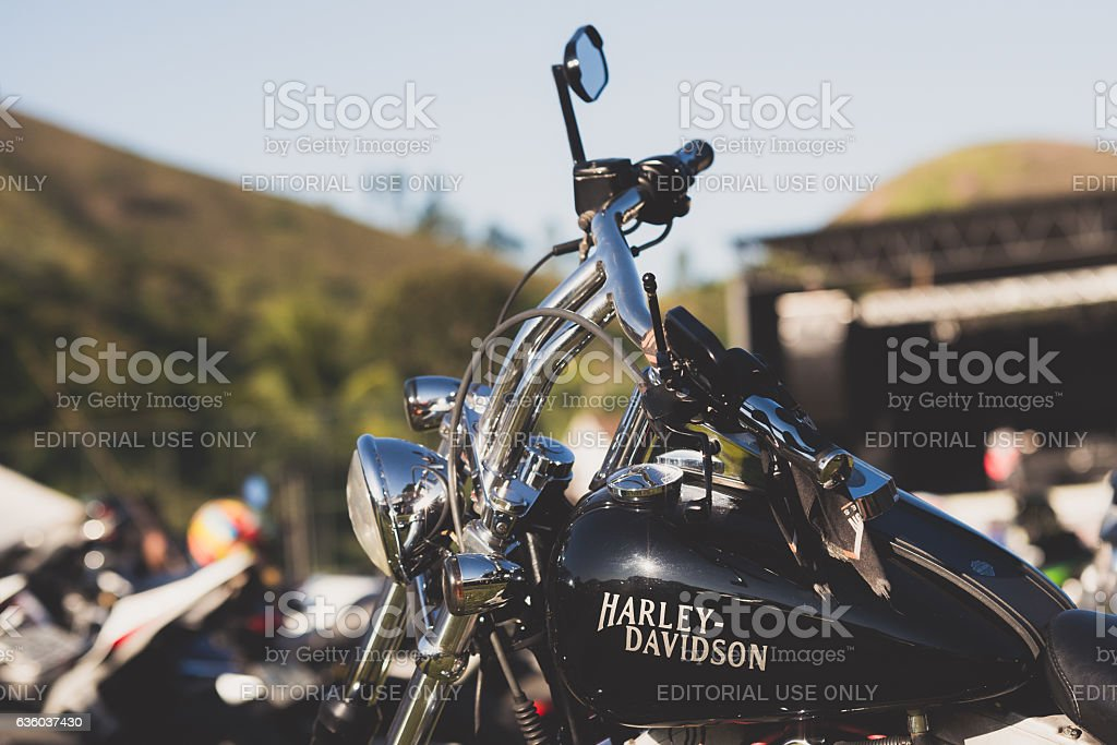 Harley-Davidson motorcycle parked at chopper festival stock photo