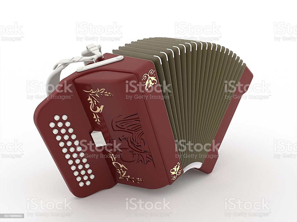 Harmonica red stock photo