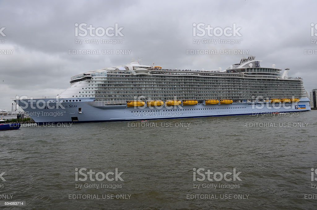 Harmony of the Seas' the world's largest cruise ship. stock photo